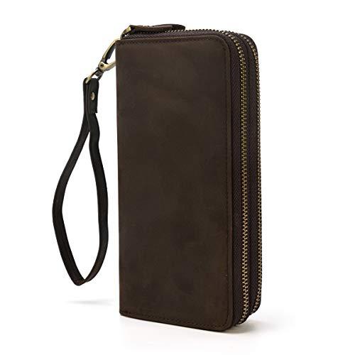 LUUFAN Echtes Leder Doppelreißverschluss Lange Brieftasche Große Kapazität Leder Clutch Wallets mit Handschlaufe (Braun 3)