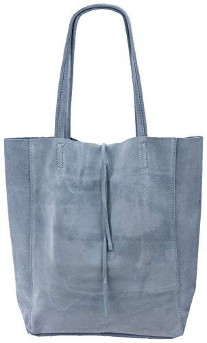 SH Leder ® Damen Echt Wildleder Shopper mit Innentasche in vielen Farben Schultertasche Henkeltasche 37x29cm Katrin G261 (Hellblau)