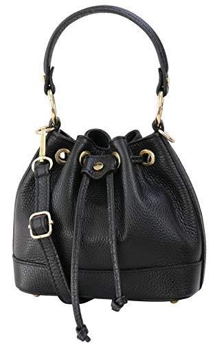 SH Leder Schnürbeutel echt Leder Hobo Bag Beuteltasche Umhängetasche Rindledertasche Damen 20x17cm Kiara G578 (Schwarz)