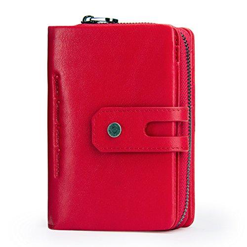 Contacts Echtes Leder Damen Trifold Coin Kartenhalter Clutch Reißverschluss Geldbörse Purse Wallet (rot)