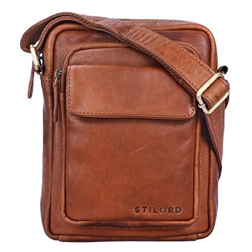 STILORD 'Jannis' Leder Umhängetasche Männer klein Vintage Messenger Bag Herren-Tasche Tablettasche für 9.7 Zoll iPad Schultertasche aus echtem Leder, Farbe:Cognac – braun