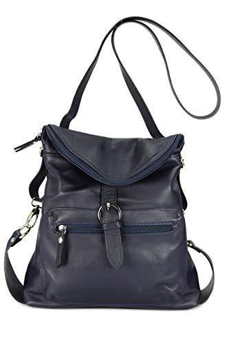 Belli ital. Echt Leder Rucksack Backpack London Handtasche Umhängetasche Rucksacktasche dunkelblau – 28x26x10 cm (B x H x T)