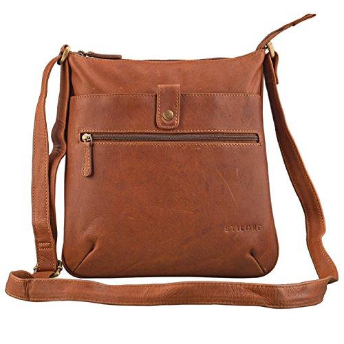 STILORD 'Lina' Elegante Vintage Damen Umhängetasche Schultertasche klein Abendtasche Klassische Handtasche 10.1 Zoll Tablettasche echtes Leder, Farbe:Cognac – braun