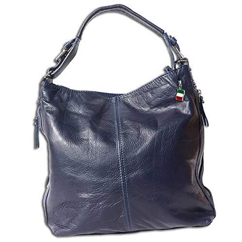 Florence Damen Beuteltasche Tasche dunkelblau echtes Leder 35x10x28 cm OTF101M Leder Beuteltasche