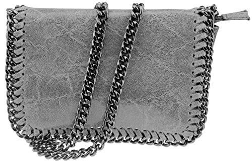 Abendtasche Umhängetasche | Echtes Leder made in Italy | Kettenstil | B22xH15xT5