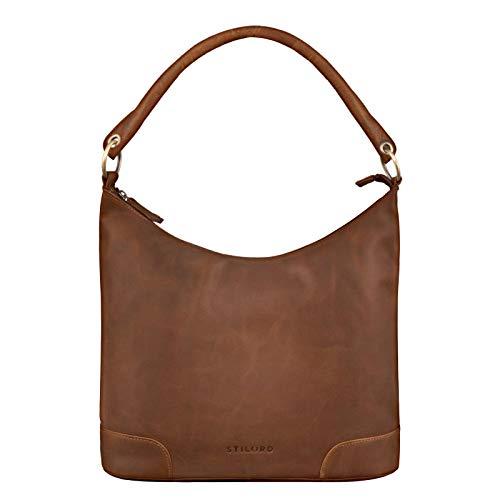 STILORD 'Tessa' Handtasche Damen Leder Groß Shopper Ledertasche Hobo Tasche Elegante Vintage Schultertasche Tote Bag aus Echtem Leder, Farbe:Mocca – Dunkelbraun