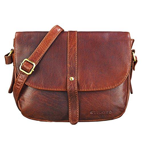 STILORD 'Kira' Umhängetasche Frauen Leder Vintage kleine Handtasche zum Ausgehen Klassische Abendtasche Partytasche Freizeittasche Echtleder, Farbe:Siena – braun