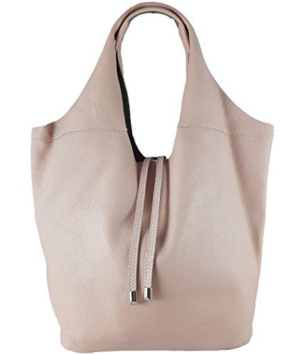 Freyday Echtleder Shopper mit Schmucktasche in vielen Farben Schultertasche Damen Henkeltasche (Rosa)