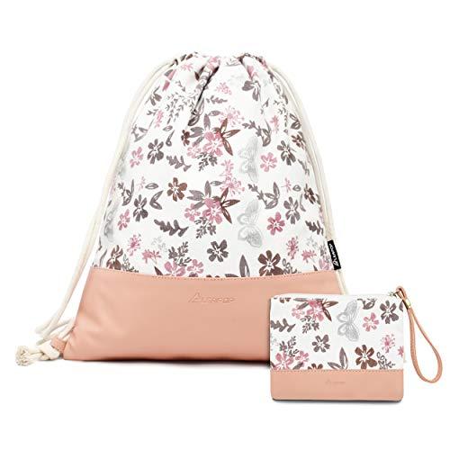 Leapop Turnbeutel Hipster Segeltuch Sporttaschen, Rosa Gym Sack Beutel Sportbeutel Tüte Rucksack mit Innentasche und Schlüsselbund, Münzbörsen (Blumen Schmetterling)