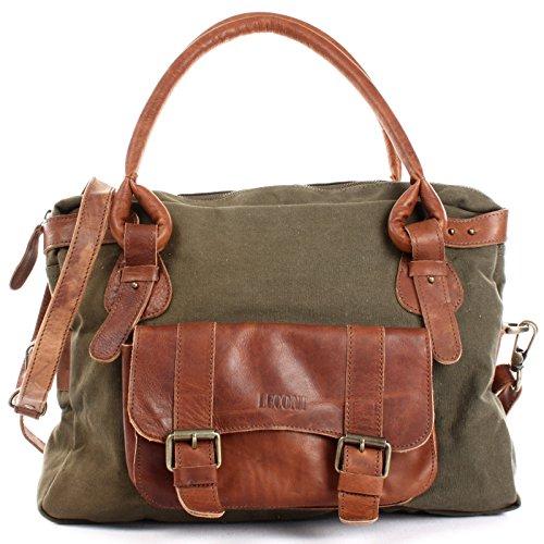 LECONI Henkeltasche Canvas + Echtleder Damentasche Handtasche Vintage Damen Schultertasche 38x29x11cm braun grün LE0050-C