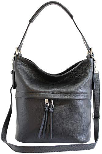 AmbraModa Damen Handtasche Schultertasche Beutel aus Echtleder GL024 (Schwarz)