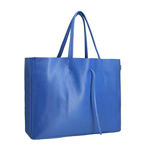 SKUTARI® LEDER Vittoria Grande – Damen Shopper aus echtem Leder, Handtasche mit Innentasche, handgefertigt in Italien, Fashion Tragetasche, Beuteltasche   29cm x 43cm x 12cm (Jeansblau)