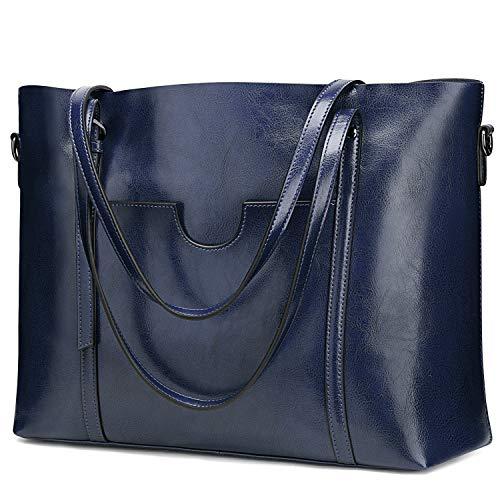 S-ZONE Damen 3-Way Schultertasche Vintage Echtleder Shopper Große Mode Laptop Arbeitstasche Umhängetasche Handtasche Messenger Bag