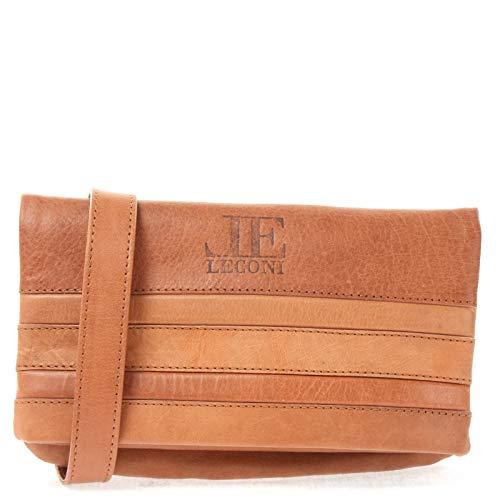 LECONI kleine Umhängetasche Damen-Tasche Clutch mit Überschlag Crossbag Natur Mini Schultertasche Vintage-Look Ledertasche Frauen Handtasche aus Echt-Leder 26x16x3cm cognac LE3077-P