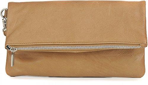 Ledertasche von PHIL+SOPHIE, Damen Handtaschen, Clutches, Abendtaschen, Unterarmtaschen, Echt-Leder, 25,5 x 13,5 x 2 cm (B x H x T), Farbe:Natur