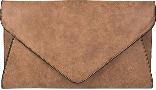 styleBREAKER Clutch Abendtasche im Envelope Kuvert Design mit Schulterriehmen und Trageschlaufe, Damen 02012087, Farbe:Camel