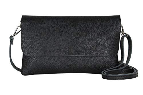 AmbraModa GLX11 – Damen Umhängetasche, Clutch, Handytasche aus echtem Leder mit abnehmbarem und verstellbarem Schultergurt, geeignet für Handys und Tablets bis zu 7 Zoll (Schwarz)