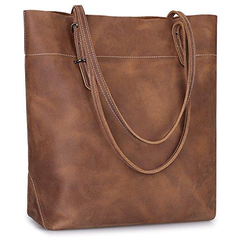 S-ZONE Damen Echtleder Tasche Shopper Groß Tote Handtasche Henkeltasche (Kaffee-verrücktes Pferd Leder)
