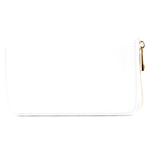 modamoda de – P02 – ital. Damen Portemonnaie Echtleder lang, Farbe:P02 Weiß