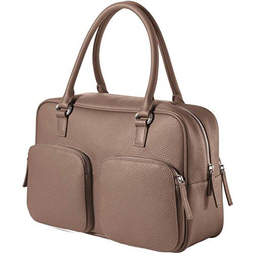 CHI CHI FAN City Bag – Stone | Damen Echt-Leder Handtasche aus genarbtem Rindsleder von Hamburger Designer-Label | Top Qualität, Design und maximale Funktion | Für Business und Freizeit