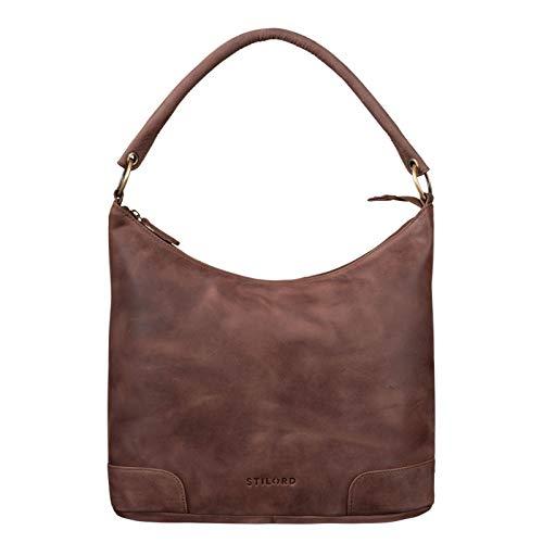 STILORD 'Tessa' Handtasche Damen Leder Groß Shopper Ledertasche Hobo Tasche Elegante Vintage Schultertasche Tote Bag aus Echtem Leder, Farbe:Messina – braun
