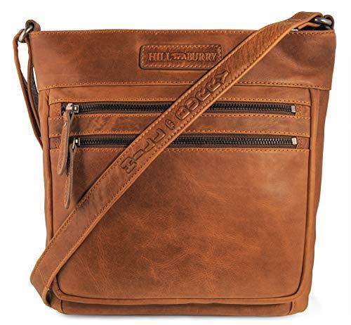 Hill Burry Damen Shopper | aus weichem hochwertigem Rindsleder – Vintage Elegante Abendtasche | Handtasche – Umhängetaschen – Fashion Bag Beutel | Schultertasche – Schulterbeutel (Braun)