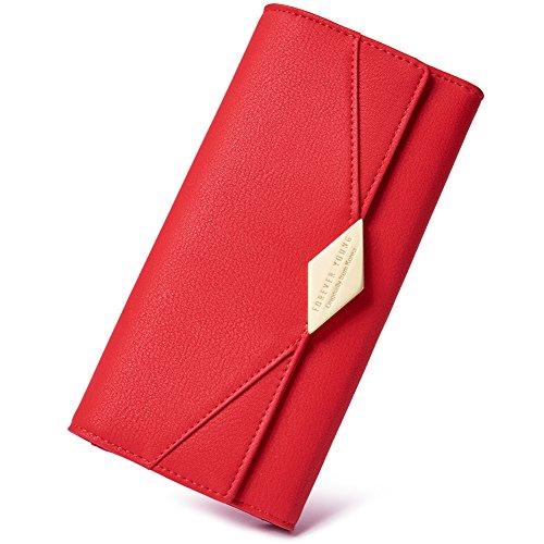 CLUCIDamen Geldbörse Weich Leder viele Kartenfächer Lang Portemonnaie Clutch Geldbeutel für Frauen mit Münzfach, Rot14-rot, Lagre
