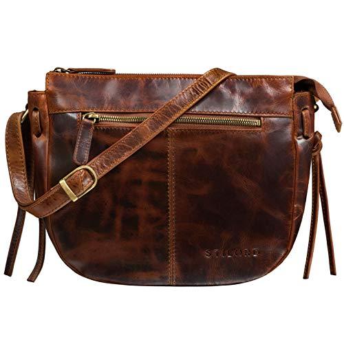 STILORD 'Bella' Lederhandtasche Damen Echtleder Vintage Handtasche Klein Abendtasche Partytasche zum Ausgehen Umhängetasche mit Reißverschluss Echtes Leder, Farbe:Kara – Cognac
