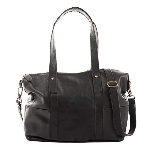 LECONI Shopper Vintage-Look Damen Henkeltasche Schultertasche Echt-Leder Natur Damentasche Ledertasche Umhängetasche Handtasche Leder 37x28x15cm schwarz LE0034-wax