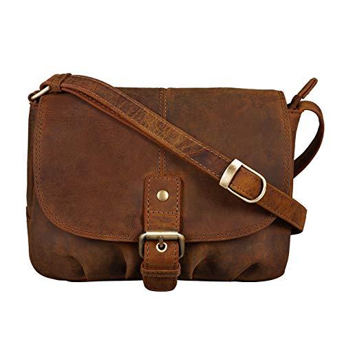 STILORD 'Iris' Leder Handtasche Damen klein Vintage Umhängetasche zum Ausgehen Klassische Abendtasche Partytasche Freizeittasche Echtleder, Farbe:mittel – braun
