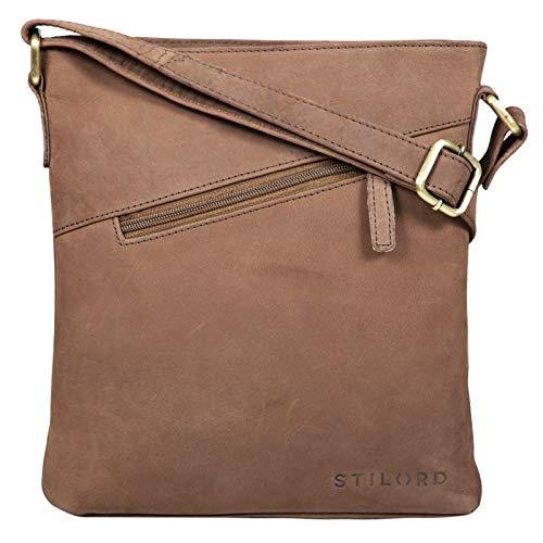 STILORD 'Stella' Vintage Handtasche Damen Leder klein zum Umhängen Schultertasche für Freizeit Shopping Abend Tablettasche Echtleder, Farbe:Austin – braun