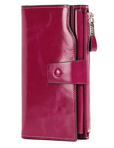 Demon&Hunter Geldbörse Damen Leder RFID Schutz Große Kapazität Lang Portmonee 21 Kartenfächer Leder Clutch Rose DZA2083R