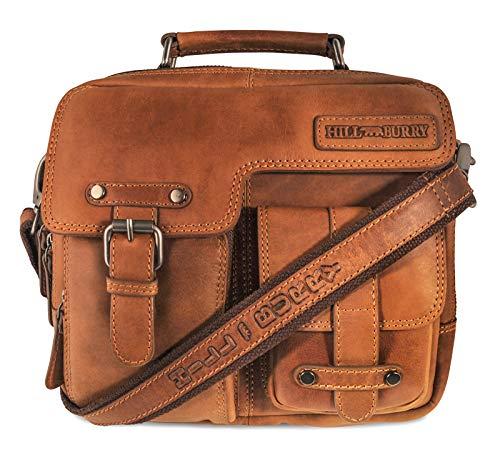 Hill Burry Damen Handtasche – Messenger | aus weichem hochwertigem Rindsleder – Vintage Elegante Abendtasche | Umhängetasche – Schulterbeutel – Fashion Bag Beutel | Schultertasche – Shopper (Braun)