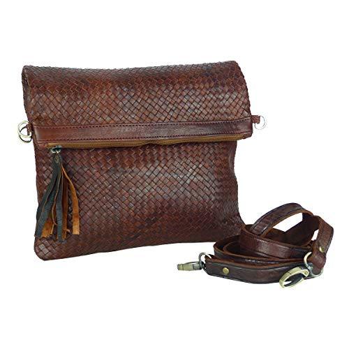 "Leder-Tasche ""Dafira"" in Dunkelbraun • marokkanische Umhängetasche in Flecht-Optik • elegant & klassisch • 100% Handarbeit aus Echt-Leder • Clutch geeignet – Simandra"