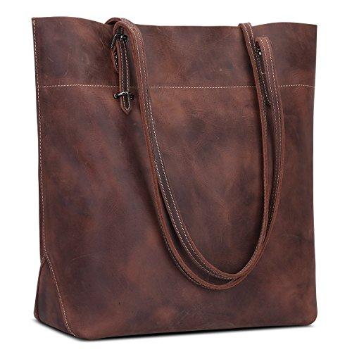 S-ZONE Damen Echtleder Tasche Shopper Groß Tote Handtasche Henkeltasche (Dunkelbraun-verrücktes Pferd Leder)