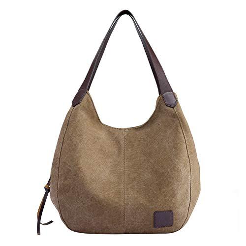 PB-SOAR Damen Mädchen Modern Canvas Shopper Schultertasche Handtasche Henkeltasche Hobo Bag Beuteltasche (Braun)