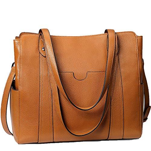 S-ZONE Damen 3 Way Schultertasche Mode Weiches Echtleder Große Multifacher Arbeitstasche Umhängetasche Laptoptasche Geldbörse Handtasche