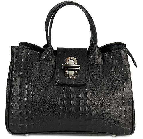Belli Echt Leder Handtasche Damen Ledertasche Umhängetasche Henkeltasche in schwarz matt Kroko Prägung – 36x25x18 cm (B x H x T)