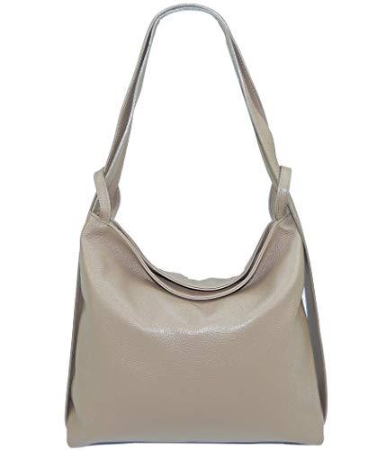 Freyday 2in1 Damen Handtaschen-Rucksack Henkeltasche aus 100% Echtleder (Taupe)