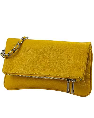 SH Leder Echtleder Umhängetasche Clutch kleine Tasche Abendtasche 26x14cm Mia G389 (Gelb)
