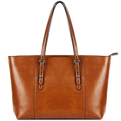 Yaluxe Schultertasche Handtasche Echtleder Damen Laptop Tote Große Tasche für bis zu 15,6 in Vintage Style aus weichem Leder Work Umhängetasche Braun