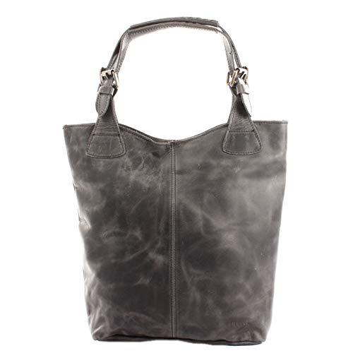 LECONI Henkeltasche Echt-Leder Vintage-Look Damentasche Handtasche für Damen Shopper für Freizeit, Büro oder Shopping Beuteltasche Frauen Ledertasche 34x35x10cm grau LE0033-wax