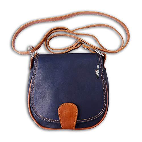 Florence echtes Leder Tasche Damen Umhängetasche Abendtasche dunkelblau tan braun 18x5x17 inklusive Feenanhänger D1OTF103B Leder Tasche von Florence für die Frau