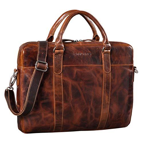 STILORD 'Laslo' Businesstasche Leder Groß für Herren 13,3 Zoll Laptop-Tasche DIN A4 Hochwertig Vintage Handtasche Umhängetasche Schultertasche Echtleder, Farbe:Milano – braun