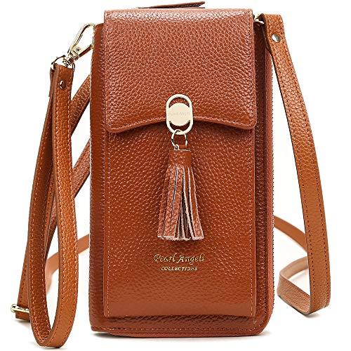 Pearl Angeli Weiches Echtes Leder Handy Umhängetasche – Handytasche Geldbörse Damen RFID Schutz kleine Crossbody Tasche Orange (Braun)