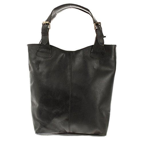 LECONI Henkeltasche Echt-Leder Vintage-Look Damentasche Handtasche für Damen Shopper für Freizeit, Büro oder Shopping Beuteltasche Frauen Ledertasche 34x35x10cm schwarz LE0033-wax