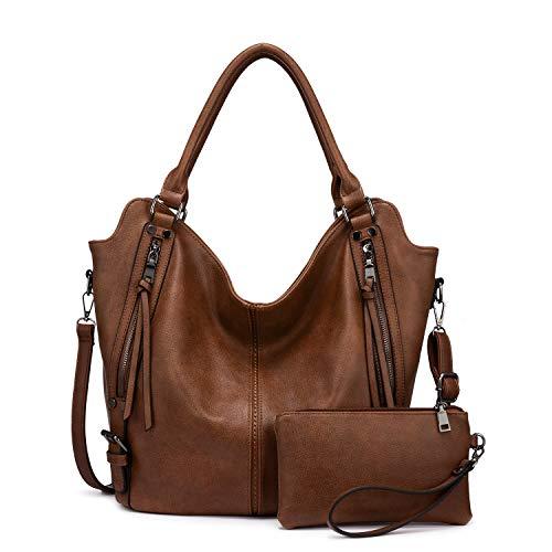 Realer Damen Handtaschen Groß Shopper Lederhandtasche Schultertasche Umhängetasche Geldbörse Hobo Damen Taschen Set für Büro Schule Einkauf Reise 2pcs Braun