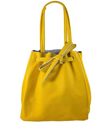 Freyday Damen Echtleder Shopper mit Innentasche in vielen Farben Schultertasche Henkeltasche (Senfgelb)