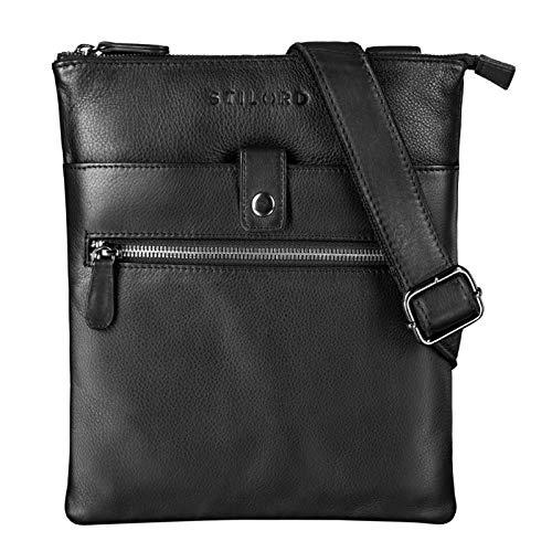 STILORD 'Enya' Ledertasche Damen Umhängetasche Vintage Handtasche Klein Abendtasche Elegante Schultertasche Tasche für iPad 9.7 Zoll DIN A5 Echt Leder, Farbe:schwarz