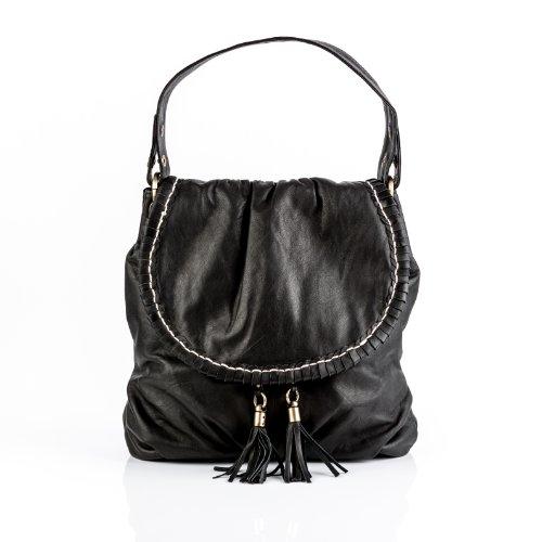 BACCINI Beuteltasche echt Leder Gisele Hobo Bag Schultertasche Ledertasche Damen schwarz